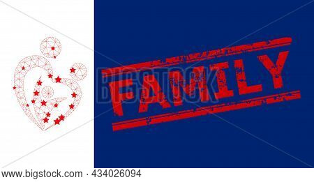 Mesh Family Polygonal Symbol Vector Illustration, And Red Family Rubber Stamp Seal. Carcass Model Is