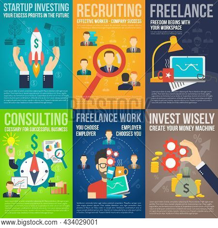 Business Mini Poster Set With Startup Investing Recruiting Freelance Work Promo Isolated Vector Illu