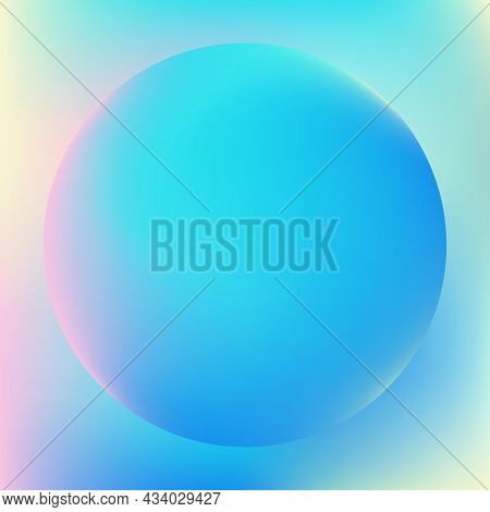 Holographic Pastel-colored Gradient Sphere In Blue, Pink, And Yellow. Vibrant Gradient Banner With B