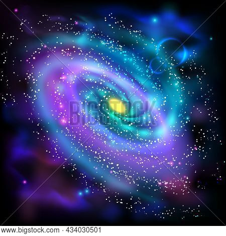 Cosmos Space Luminous Spiral Galaxy Astronomical Scientific Poster With Rotating Disk Of Stars Dust