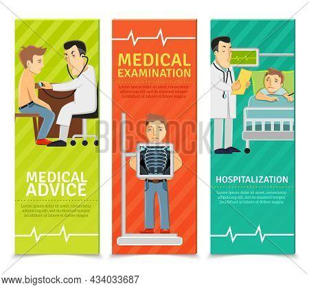 Medical Examination Vertical Banners Set With Examination Advice Hospitalization Elements Isolated V