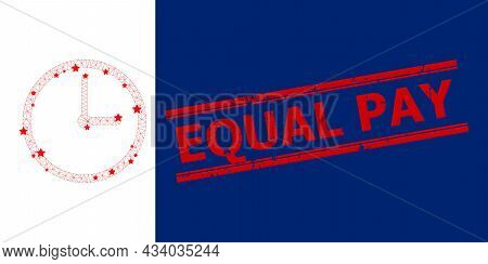 Mesh Clock Polygonal Icon Vector Illustration, And Red Equal Pay Grunge Seal. Model Is Based On Cloc