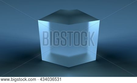 Geometric Crystal With 3d Render Of Matte Surface. Futuristic Square Minimalism With Clean Sides And