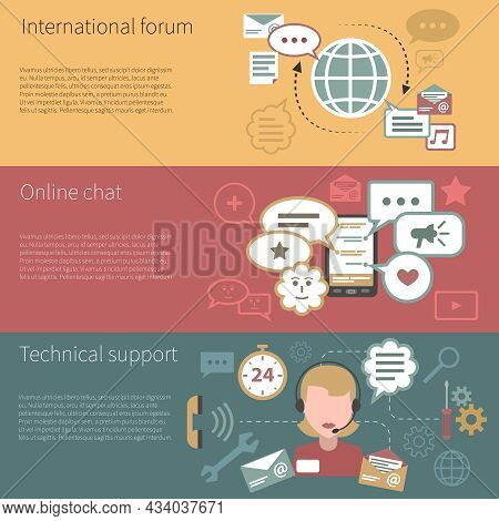 Chat Banner Horizontal Set With International Forum Online Technical Support Elements Isolated Vecto
