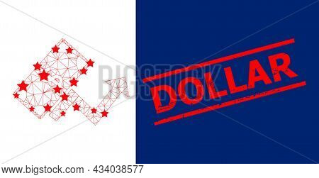 Mesh Dollar Growth Trend Polygonal Icon Vector Illustration, And Red Dollar Dirty Stamp Imitation. M