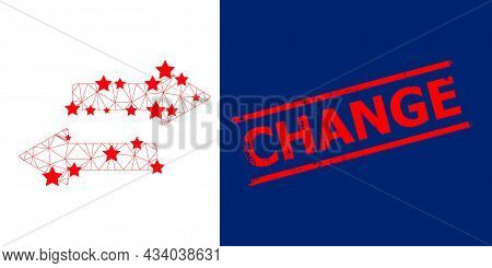 Mesh Horizontal Exchange Arrows Polygonal Icon Vector Illustration, And Red Change Grunge Stamp. Mod