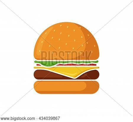 Burger Fast Food Isolated Icon. Hamburger With Tomato, Bow, Greens, Juicy Fried Beef Cutlet, Cheese