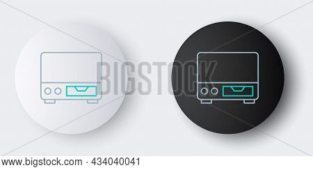 Line Old Video Cassette Player Icon Isolated On Grey Background. Old Beautiful Retro Hipster Video C