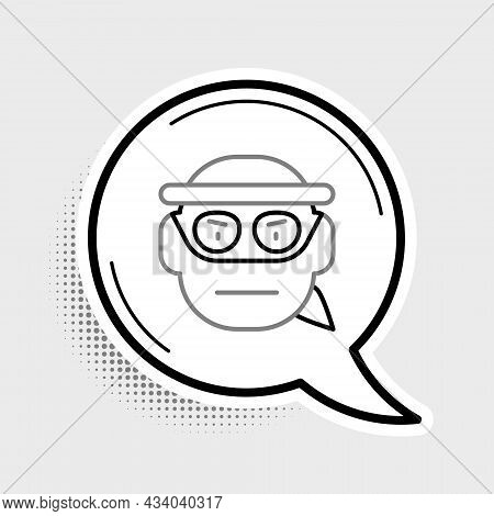 Line Bandit Icon Isolated On Grey Background. Colorful Outline Concept. Vector