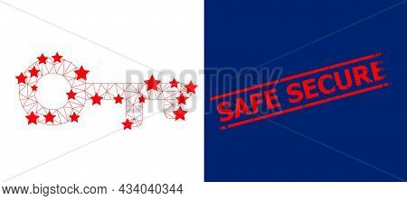 Mesh Key Polygonal Icon Vector Illustration, And Red Safe Secure Rough Watermark. Carcass Model Is C