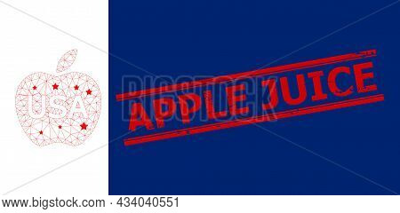 Mesh American Apple Polygonal Icon Vector Illustration, And Red Apple Juice Rubber Watermark. Carcas