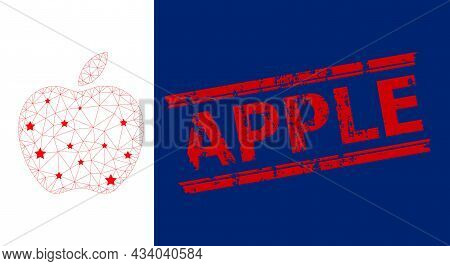 Mesh Apple Polygonal Icon Vector Illustration, And Red Apple Grunge Badge. Carcass Model Is Created