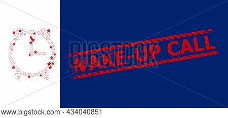Mesh Alarm Clock Polygonal Icon Vector Illustration, And Red Wake-up Call Rough Stamp Seal. Carcass