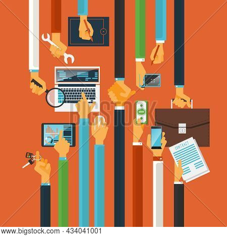 Long Hands Characters Keys To Teamwork Success Production Process Concept With Computers Poster Flat