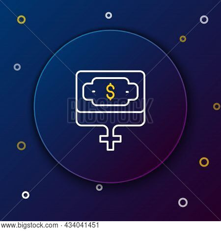 Line Money Growth Woman Icon Isolated On Blue Background. Income Concept. Business Growth. Investing