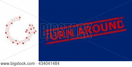 Mesh Rotate Left Arrow Polygonal Icon Vector Illustration, And Red Turn Around Textured Badge. Carca
