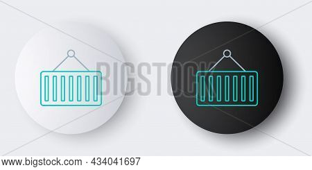 Line Container On Crane Icon Isolated On Grey Background. Crane Lifts A Container With Cargo. Colorf