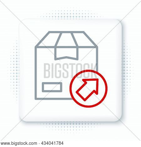 Line Carton Cardboard Box Icon Isolated On White Background. Box, Package, Parcel Sign. Delivery And
