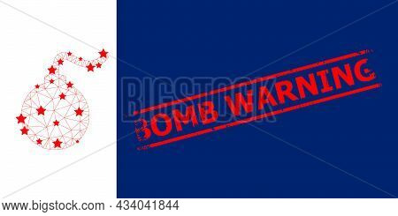 Mesh Bomb Polygonal Icon Vector Illustration, And Red Bomb Warning Scratched Seal. Model Is Created