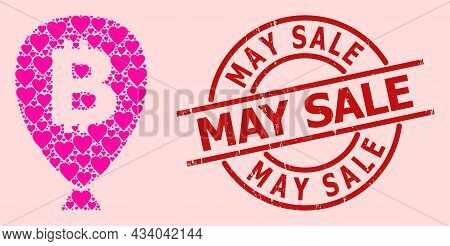 Grunge May Sale Seal, And Pink Love Heart Collage For Bitcoin Balloon. Red Round Stamp Seal Contains