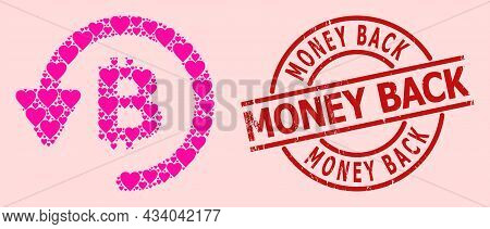 Grunge Money Back Badge, And Pink Love Heart Collage For Bitcoin Refund. Red Round Badge Contains Mo