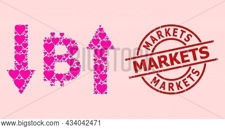 Rubber Markets Stamp Seal, And Pink Love Heart Collage For Bitcoin Volatility. Red Round Seal Has Ma