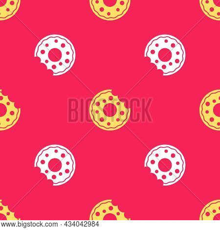 Yellow Donut With Sweet Glaze Icon Isolated Seamless Pattern On Red Background. Vector
