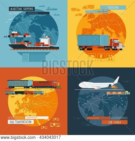 Logistic Maritime Shipping And Air Cargo Transportation Worldwide 4 Flat Icons Composition Banner Ab