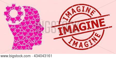 Grunge Imagine Stamp, And Pink Love Heart Mosaic For Brain Gear. Red Round Stamp Seal Has Imagine Ca