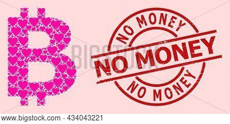 Distress No Money Badge, And Pink Love Heart Mosaic For Bitcoin Symbol. Red Round Badge Has No Money