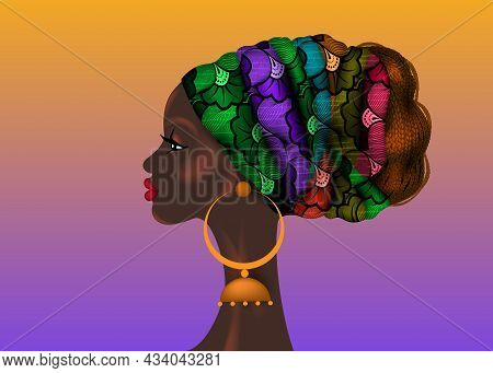Beautiful Portrait African Woman In Wax Print Fabric Turban, Vector Isolated On Colorful Background