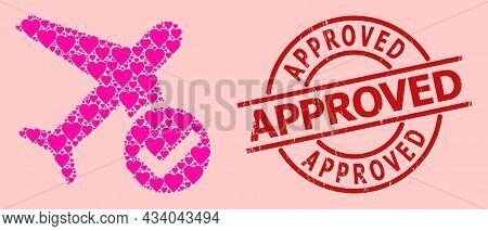 Rubber Approved Stamp, And Pink Love Heart Collage For Accept Airplane. Red Round Stamp Seal Include