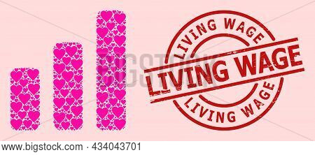 Textured Living Wage Seal, And Pink Love Heart Mosaic For Bar Chart. Red Round Stamp Seal Contains L