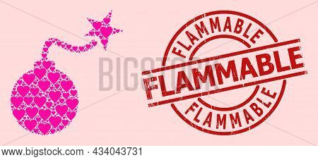 Textured Flammable Stamp Seal, And Pink Love Heart Collage For Bomb Ignition. Red Round Stamp Seal C