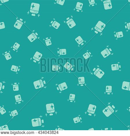 Green Clean Cooking Pot Icon Isolated Seamless Pattern On Green Background. Boil Or Stew Food Symbol
