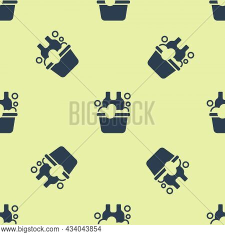 Blue Plastic Basin With Soap Suds Icon Isolated Seamless Pattern On Yellow Background. Bowl With Wat