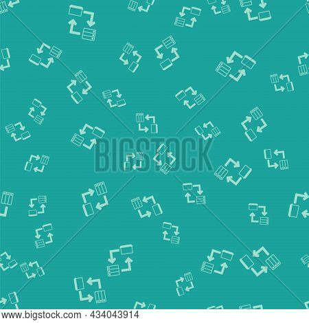 Green Online Working Icon Isolated Seamless Pattern On Green Background. Freelancer Man Working On L