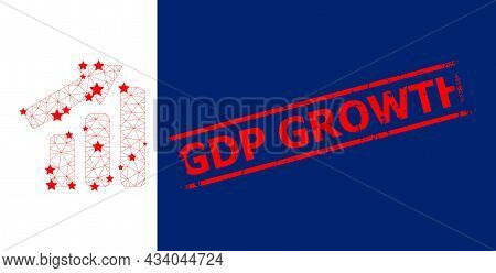 Mesh Up Trend Bar Chart Polygonal Symbol Vector Illustration, And Red Gdp Growth Textured Badge. Car