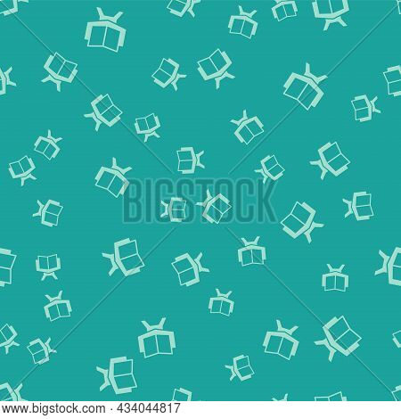 Green Holy Book Of Koran Icon Isolated Seamless Pattern On Green Background. Muslim Holiday, Eid Mub