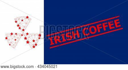 Mesh Circle Sectors Polygonal Icon Vector Illustration, And Red Irish Coffee Grunge Rubber Print. Ab