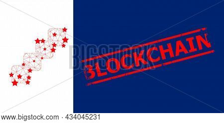 Mesh Blockchain Polygonal Icon Vector Illustration, And Red Blockchain Unclean Badge. Model Is Based