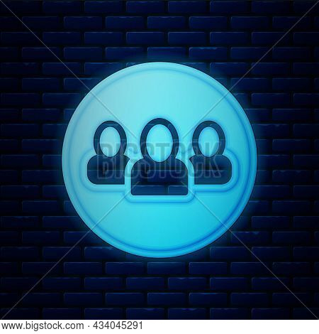 Glowing Neon Project Team Base Icon Isolated On Brick Wall Background. Business Analysis And Plannin