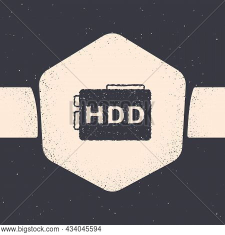 Grunge Hard Disk Drive Hdd Icon Isolated On Grey Background. Monochrome Vintage Drawing. Vector