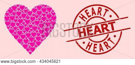 Distress Heart Seal, And Pink Love Heart Collage For Heart. Red Round Seal Includes Heart Caption In