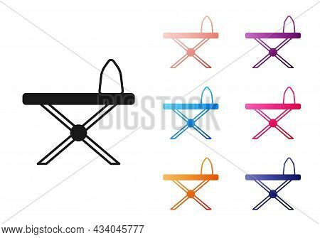 Black Electric Iron And Ironing Board Icon Isolated On White Background. Steam Iron. Set Icons Color