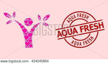 Rubber Aqua Fresh Stamp Seal, And Pink Love Heart Mosaic For Tree Man. Red Round Stamp Seal Includes
