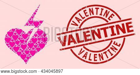 Grunge Valentine Stamp Seal, And Pink Love Heart Pattern For Heart Strike. Red Round Stamp Seal Has