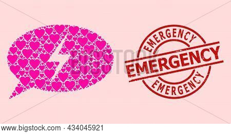 Textured Emergency Stamp Seal, And Pink Love Heart Collage For Emergency Message. Red Round Stamp Se
