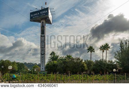 Montuiri, Spain; September 18 2021: Monopost With Billboard Of The Winery Blanca Terra In The Majorc