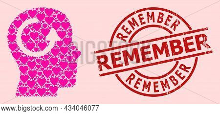 Textured Remember Stamp Seal, And Pink Love Heart Mosaic For Remember. Red Round Stamp Has Remember